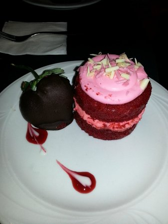 Heron's Glen:                   Mini Red Velvet Mouse Cake & Choc Strawberry