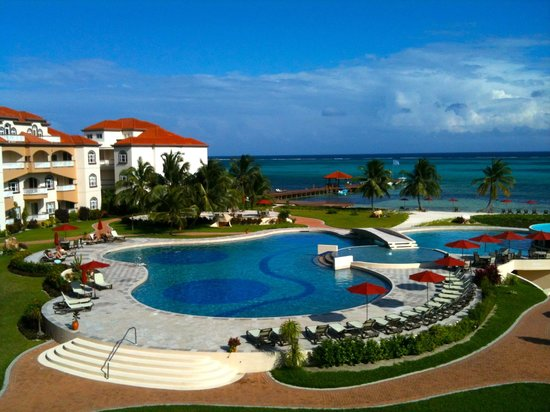 Grand Caribe Belize Resort and Condominiums:                   Looking East from our third floor balcony
