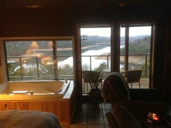 Beaver Lakefront Cabins:                   View from within room