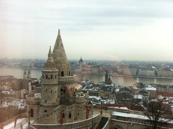 Hilton Budapest:                   View from Danube view room on the fifth floor.
