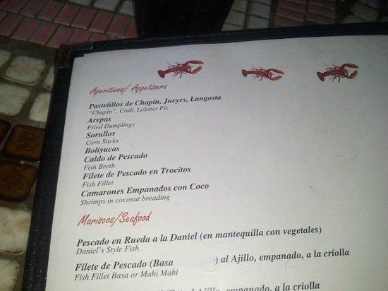 Daniel Sea Food:                   menu