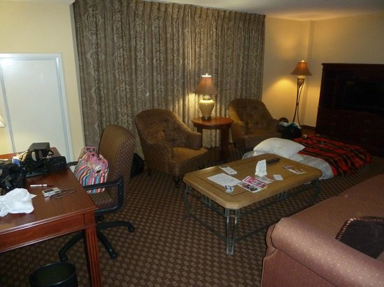 Clarion Collection Hotel Arlington Court Suites:                                     Desk Area/Living Room (with our blow-up mattress)