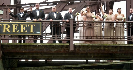 Chicago's First Lady Cruises: Wedding Party on Kinzie St. Bridge as we sailed under