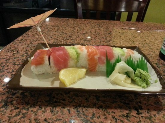 Healthy Japan Sushi and Teriyaki: Rainbow roll had hair on it