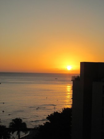 Waikiki Resort Hotel:                   Sunset on Waikiki from our ocean view room
