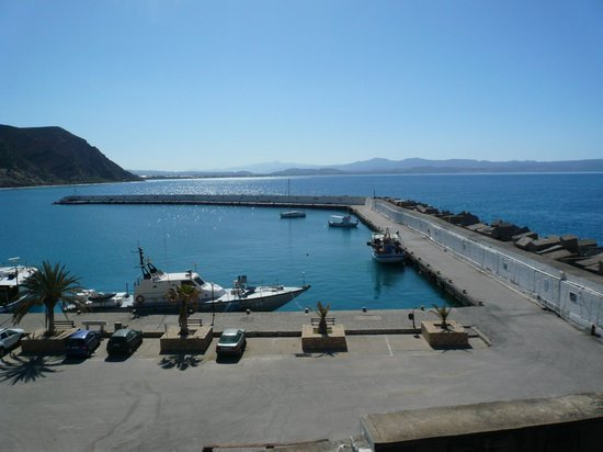 Minos Hotel:                   Looking out from village onto harbour