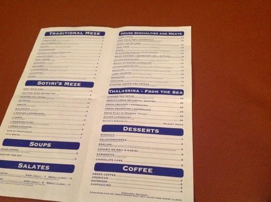 Greek Islands Taverna:                   menu
