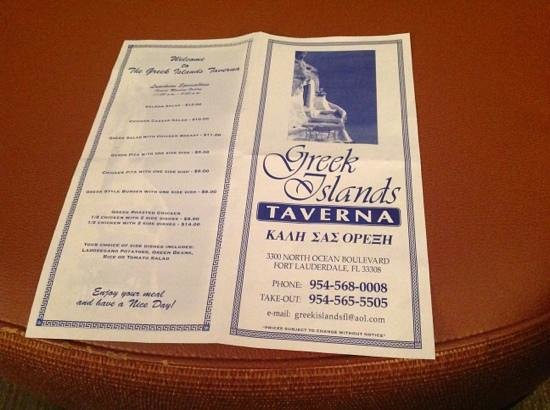 Greek Islands Taverna:                   menu