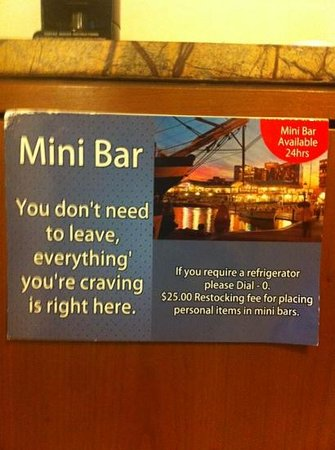 Hyatt Regency Baltimore Inner Harbor: Note the fee imposed if you place your own things in mini-bar