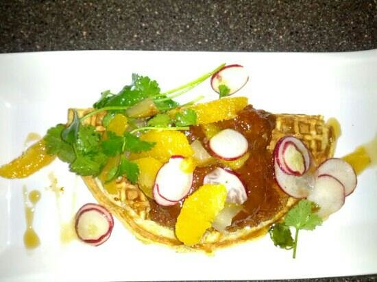 American Harvest Eatery: Panko chicken and waffles.. great combo of sweet & a little spicy