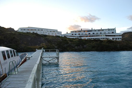 explora Patagonia - All Inclusive:                   View of Hotel Explora from Lake Pehoe