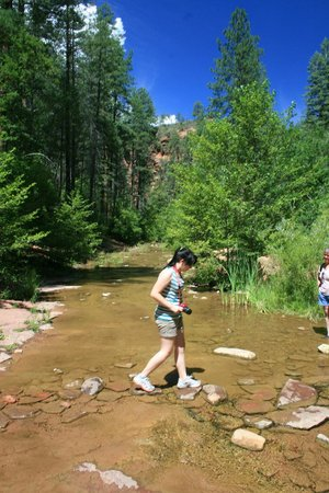 West Fork Oak Creek Trail: My daughter at one of the 13 crossings