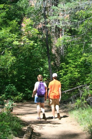 West Fork Oak Creek Trail: My wife and son along the trail