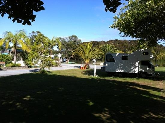 Haruru Falls Resort:                   our camper park under a tree close to the water and the pool.