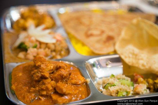 Curry Up Now:                   8-item Thali Platter with Chicken Tikki Marsala