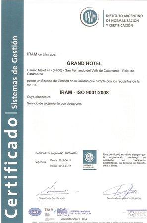 Grand Hotel Catamarca: Certificación ISO 9001/2008