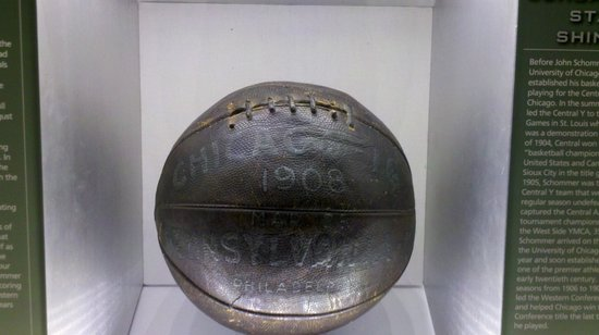 Basketball Hall of Fame:                   One of the first balls used, resembling a football