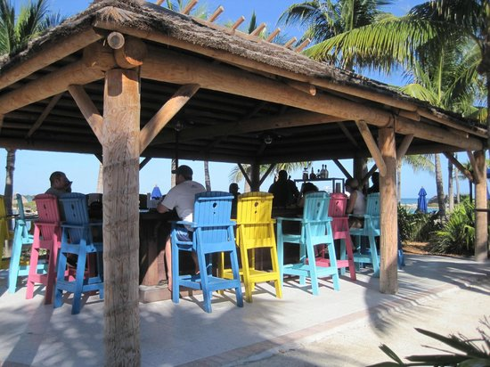 Hawks Cay Resort:                   Colorfull chairs at the Tiki Bar