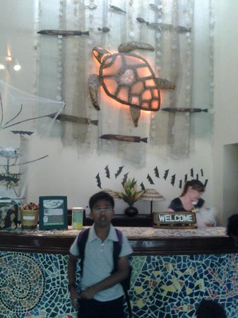 Camayan Beach Resort and Hotel:                   Front desk decorated for Halloween