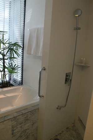 LiT BANGKOK Hotel: Shower and bath tub, room 411
