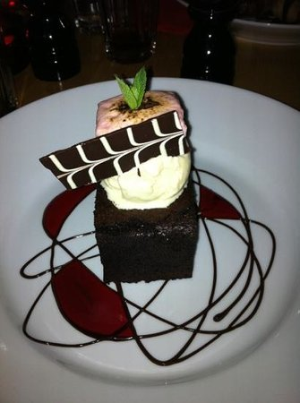 Nelson Street Cafe Restaurant Bar:                   chocolate brownie with vanilla ice cream and beetroot marshmallow