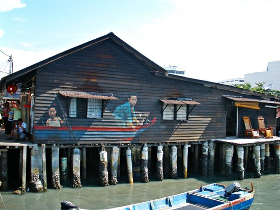 Chew Jetty:                   a famous painting on of the houses