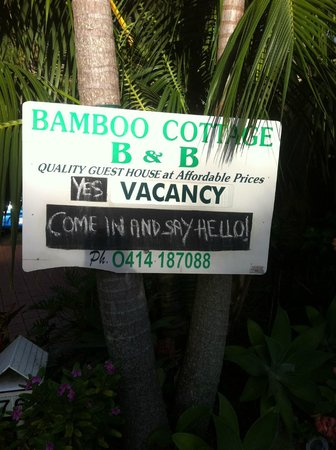Bamboo Cottage B&B:                   sign from street