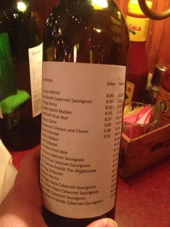 Bonge's Tavern: wine list on empty bottle