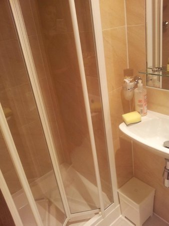 Studios2Let Serviced Apartments - Cartwright Gardens:                   Shower and sink with toilet to the left