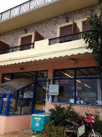 Mpalkoni sti Monemvasia: view from the street with the supermarket below