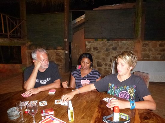 Rafters Retreat:                   playing cards with our aussie friend
