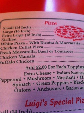 Luigi's Gourmet Pizza:                                     Menu