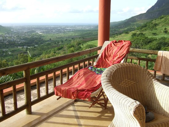 Mon Choix Ecolodge:                   Patio lounger and view to Port Louis