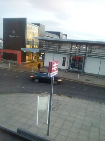 Premier Inn Edinburgh Park (The Gyle) Hotel:                   edinburgh park rail way over the road we didt mind the trains going pass