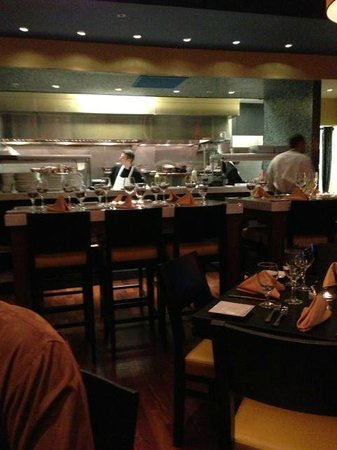 Mancini's:                   View from our table to the open kitchen- far enough in back you don't hear kit