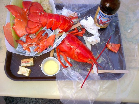 Beal's Lobster Pier: This day did not end well for Bob, the lobster. Nice local beer, too.