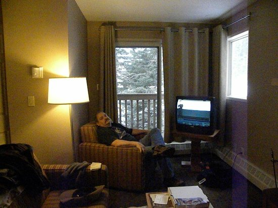 Banff Rocky Mountain Resort: our itty bitty living/dining room