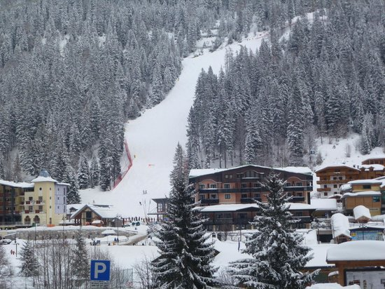 Spinale Hotel:                   The hotel on the right side of the slope after snowfall