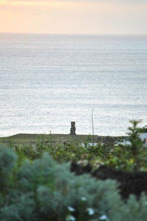 Hotel Altiplanico:                   Vista desde el jardín (Moai de fondo)
