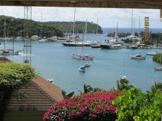 Ocean Inn:                   View from pool beck to the boats of English Harbour