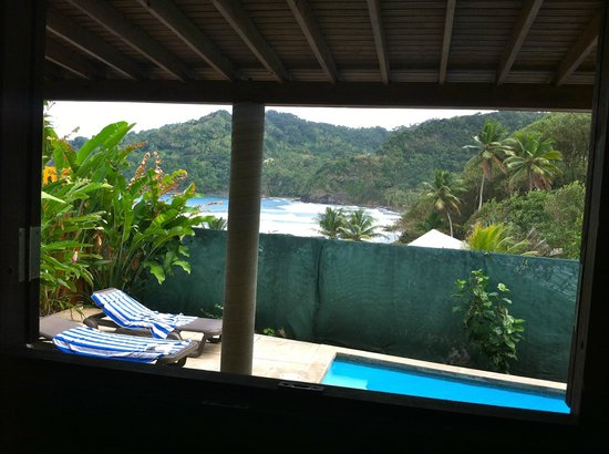 Pagua Bay House Oceanfront Cabanas:                   View from the bathroom