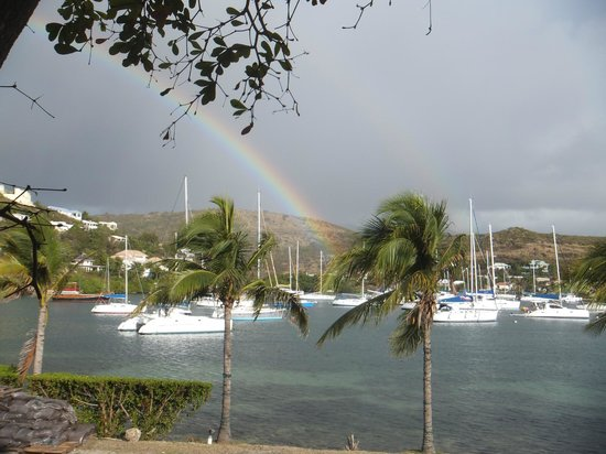 Oyster Bay Beach Resort:                   Rainbow over Oyster Pond