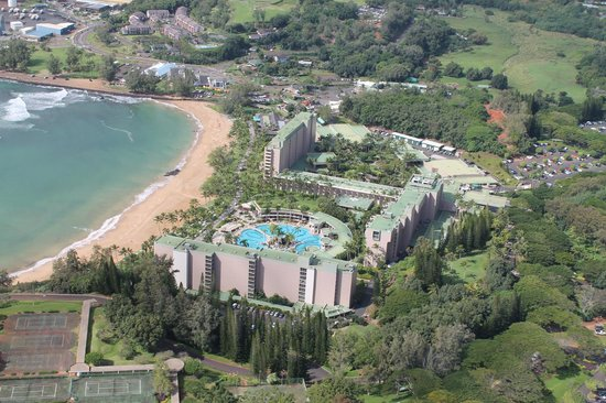 Kauai Marriott Resort:                   hotel from helicopter