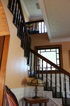 "Millsap-Baker Estate: Main staircase and view of inside balcony of famed ""Balcony Bedroom""."
