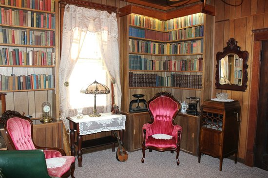 Millsap-Baker Estate: Library (groom's room) with books dating from 1840-1950s and video library of over 3000 DVDs.