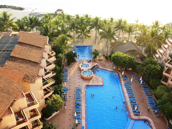 Friendly Vallarta All Inclusive Family Resort:                   View of the pool and beach areas, from our balcony