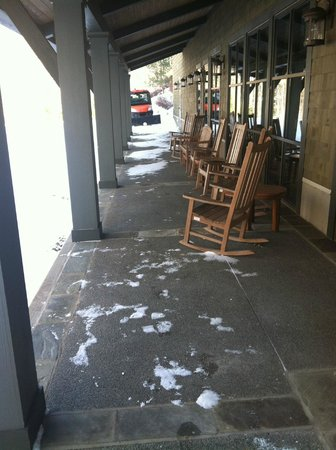 The Lodge at Woodloch:                   rocking chairs outside whisper lounge