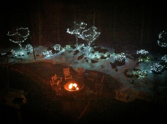 The Lodge at Woodloch:                   Fire circle at night