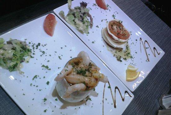 Le Champlain:                   Mozzarella and Tomato stack. Seafood verrine