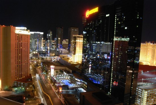 Signature at MGM Grand : View from the balcony at night